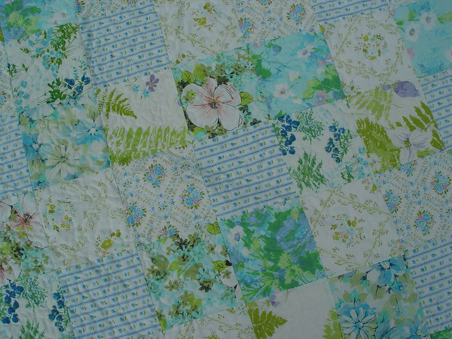 vintage sheet quilt, close-up