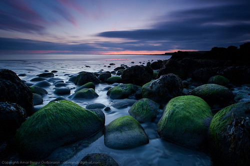 ocean longexposure sunset sea seascape green clouds sunrise landscape iceland sand rocks stones shore radioactive hvaleyri arnarbergur