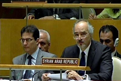 Syrian Permanent Representative to the United Nations Mission Dr. Bashara al-Jaafari listening to the attacks being made on his country by the special envoy Kofi Annan and Secretary General Ban Ki-moon. Syria is under threat of imperialist regime-change. by Pan-African News Wire File Photos