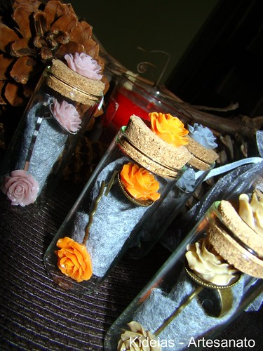 Anel e gancho vintage em frasco de vidro by kideias - Artesanato