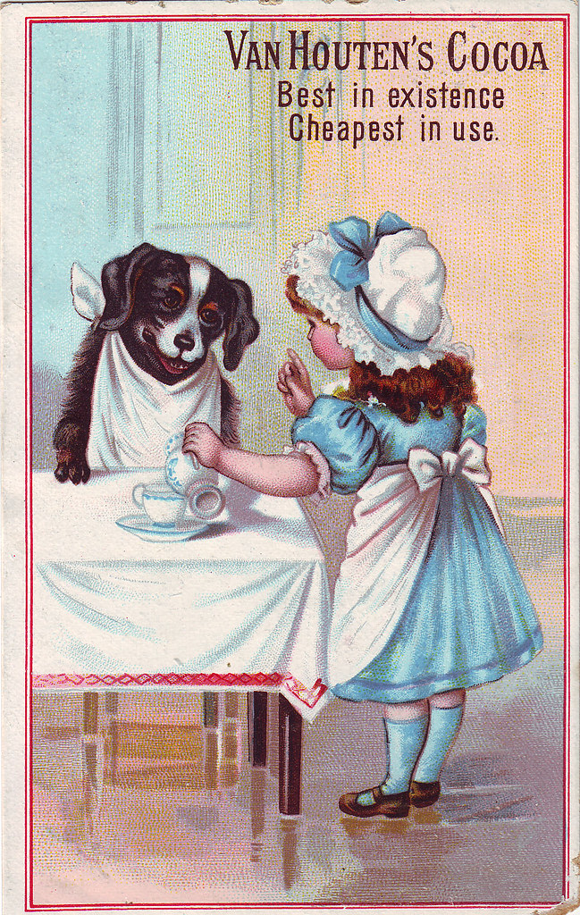 CHROMO COCOA VAN HOUTEN - GIRL POURING COCOA WITH DOG SITTING WITH NAPKIN AT TABLE