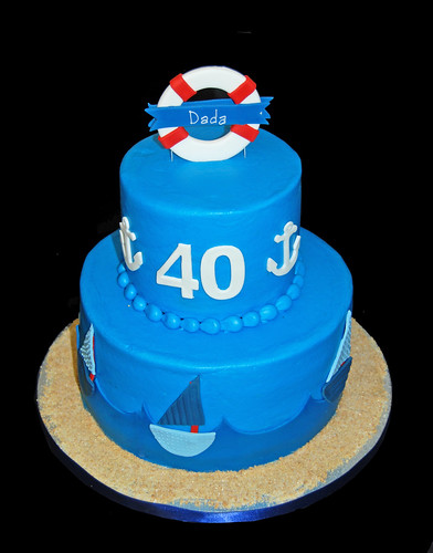 1st and 40th nautical themed birthday cake - 40th side