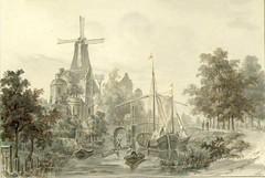 <p>Stadsbuitengracht, gezicht op de Catharijnepoort en -brug met de molen de Fortuin op het noordwestelijke bastion van het voormalige kasteel Vredenburg en rechts de Catharijnesingel, uit het noordwesten. Coll. Het Utrechts Archief.</p>