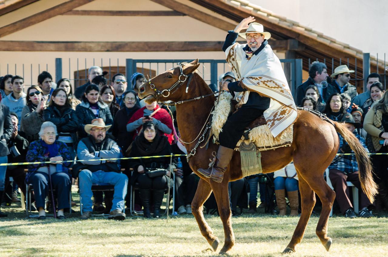 Un jinete independiente se presenta ante el público y lo saluda durante la presentación de caballerías y jinetes en la gran fiesta del Ovecha Rague, el pasado 12 de junio en la ciudad de San Miguel, departamento de Misiones. (Elton Núñez)