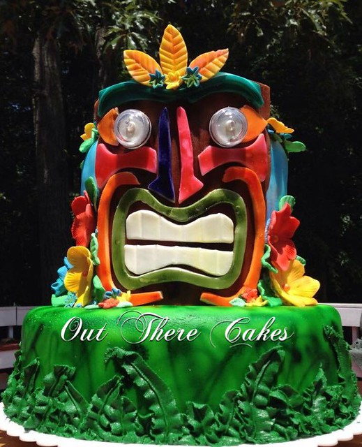 Tiki Pool Party Cake complete with light up-waterproof eyes for evening pool fun by Kelly Joel of Out There Cakes