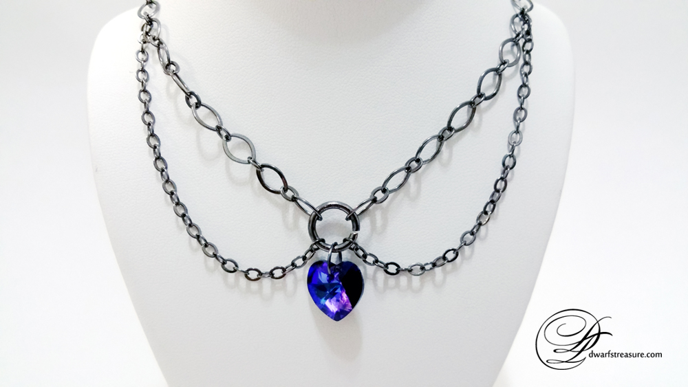 double chain gun metal short necklace with purple heart pendant