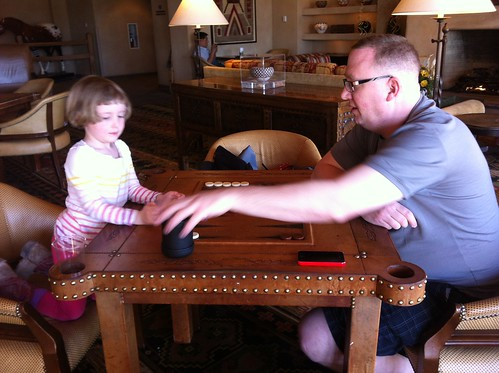 hubby and thora playing backgammon in game room #fb