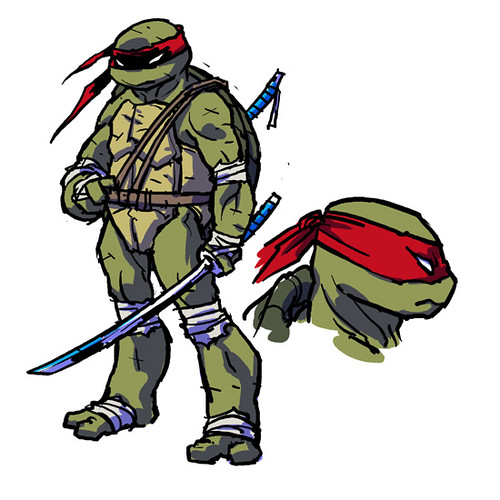 "IDW :: Teenage Mutant Ninja Turtles MICRO-SERIES #4; LEONARDO // ""LEO 1"" ..concept art by Ross Campbell (( 2012 ))"