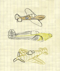 Spitfires - 1960s McLaren: mango + polished aluminum surfaces, yellow + bare metal, off white + tan wire-frame