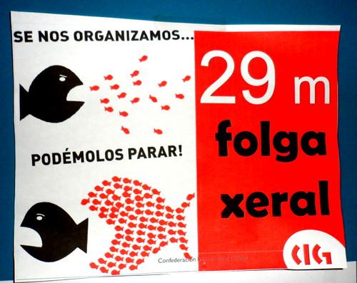 Cartel de la Confederación Intersindical Galega para el 29M de 2012