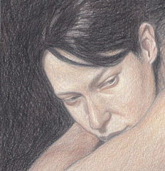 Head resting on arm - coloured pencil