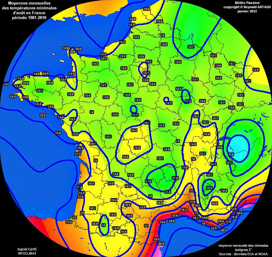 Moyennes mensuelles des températures minimales pour le mois d'août en France sur la période 1981-2010