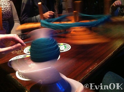 Winding yarn from hank to cake in a pub