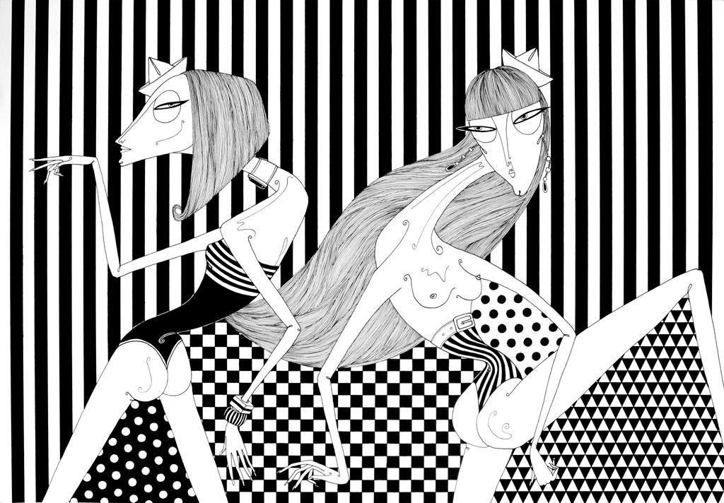 Marcha das Garotas, 2012, nanquim sobre papel (42 x 60 cm)