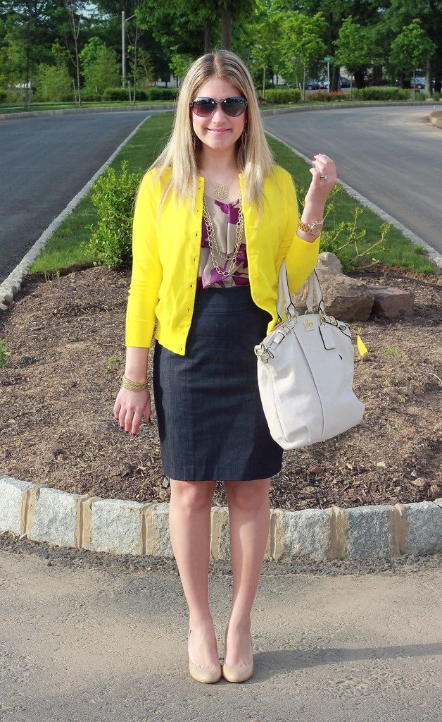 purple and yellow business casual outfit