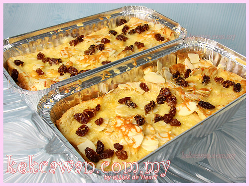 Cheezy Bread Pudding with Vanilla Sauce