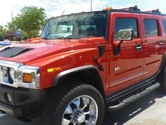 hummer h3(0.0), compact sport utility vehicle(0.0), hummer h3t(0.0), automobile(1.0), automotive exterior(1.0), sport utility vehicle(1.0), vehicle(1.0), hummer h2(1.0), off-road vehicle(1.0), bumper(1.0), land vehicle(1.0), luxury vehicle(1.0),