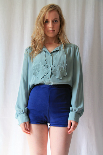 1980s mint blouse