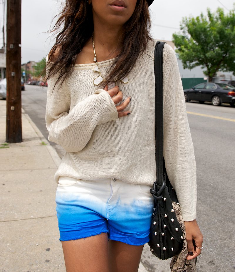 white denim shorts and creepers