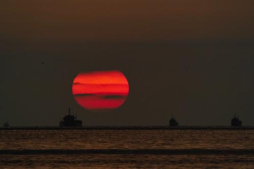 無料写真素材, 自然風景, 海, 朝焼け・夕焼け, 太陽, 水平線, 風景  日本
