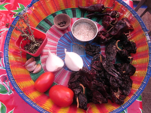 ingredients for colored mole