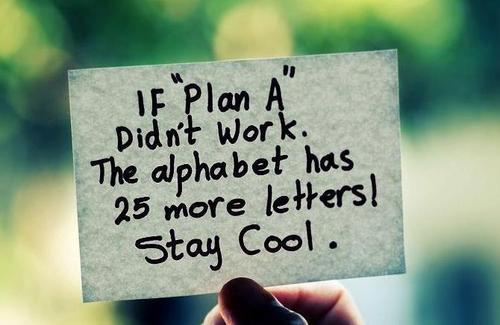If Plan A Didn't Work The Alphabet Has 25 More Letters Stay Cool