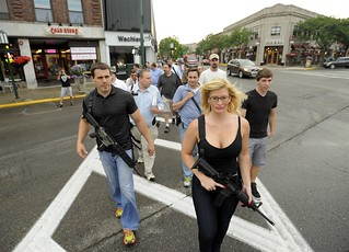 Gun supporters march in downtown Birmingham, Michigan