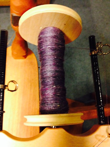 Merino silk top spinning in process