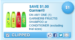 Garnier Fructis Shampoo Or Conditioner (excluding Trial Sizes)  Coupon