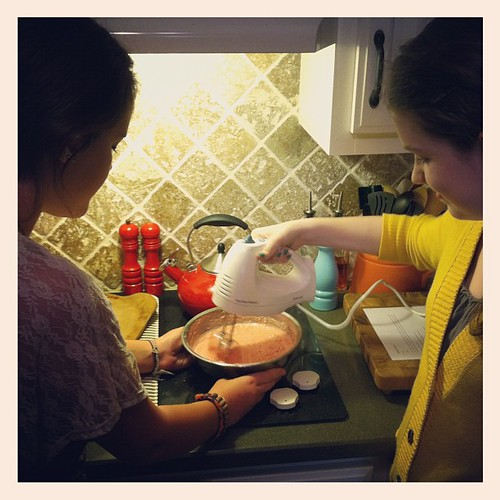 "Whippin' up a strawberry cake. They almost had it in the oven and I heard, ""We forgot the eggs!!!"" #bestfriends @magpie26 @sophielain"