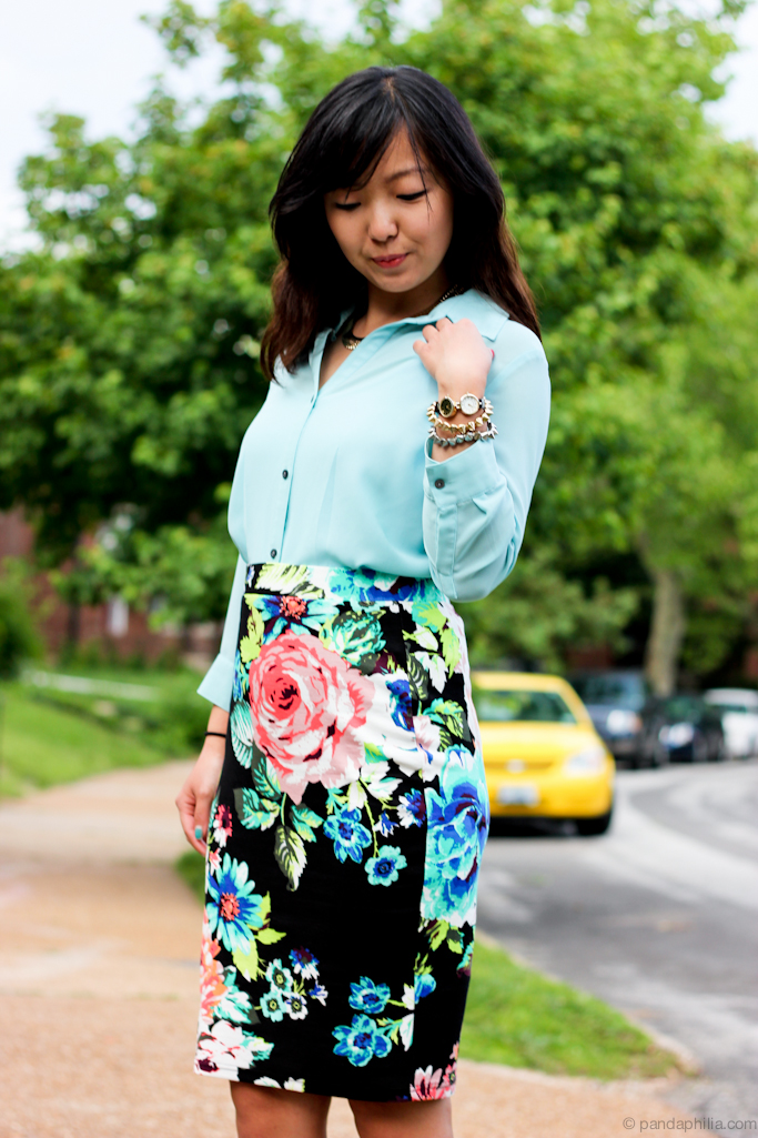mint and neon florals
