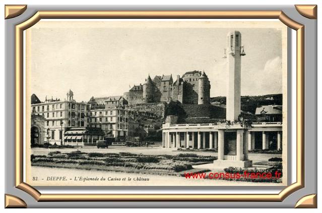 82. - DIEPPE. - L'Esplanade du Casino et le Château -70-150