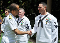 HONOLULU (March 30, 2012) Adm. Cecil D. Haney, commander of U.S. Pacific Fleet, congratulates Steelworker 1st Class Louis Salazar following the announcement of his selection as the Pacific Fleet Sea Sailor of the Year during a ceremony at the Hale Koa Hotel. (U.S. Navy photos by Mass Communication Specialist 2nd Class David Kolmel)