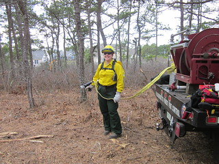 A woman firefighter with a yellow shirt and green pants holds a hose attached to a fire truck.  In the background are homes.