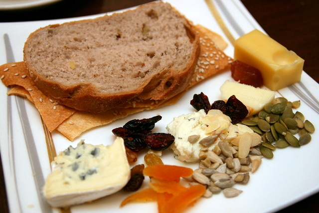 Cheeses, dried fruit and nuts, breads