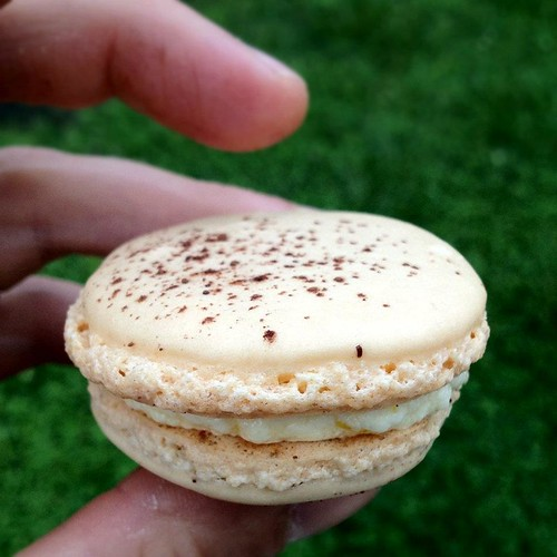 cocoa dusted bourbon macaron