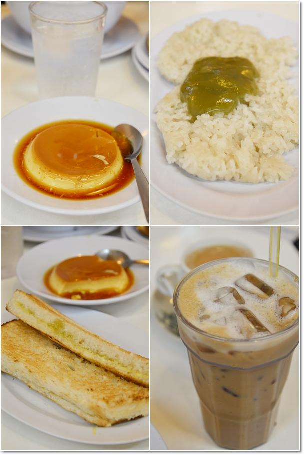 Caramel Egg Custard, Pulut Kaya, Toast