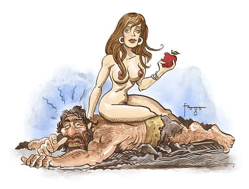 Quando a mulher acabou com a vida nômade e selvagem do neandertal. by Fragadesenhos