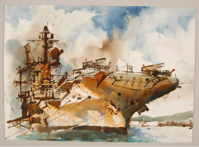 watercolour sketch: head-on view of aircraft carrier