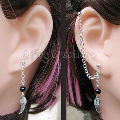 Silver and Black Wing Cartilage Chain Earrings