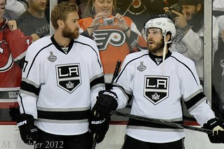 Jeff Carter, left, and Mike Richards, right, will want to get past their Pacific Division rivals, the San Jose Sharks, in the second round. (MR_53/Creative Commons)