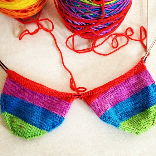 I am happy, I am elate socks! Knitpicks Felici in Rainbow. #knitting #socks #knitpicks #ravelry