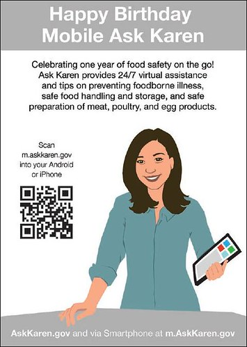 "Postcards like this one were handed out to shoppers at the Logan Circle Whole Foods Market to get shoppers using the app ""on-the-go"" around Mobile Ask Karen's first birthday and the start of the summer grilling season."