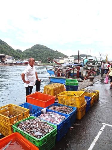 「三腳虎」的漁獲效益最大,但一網打盡的作法,長遠看來,對台灣沿岸漁業衝擊頗大。圖為一箱箱的雜魚。