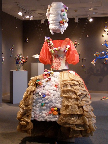 art sculpture sarahray unca asheville 2012 exhibit ramseylibrary plasticbags marieantoinette cake crumbs letthemeatcake consumption metaphor libslibs mystuart cupfakes cupcake