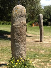 two of the five tall statue-menhirs at Filitosa