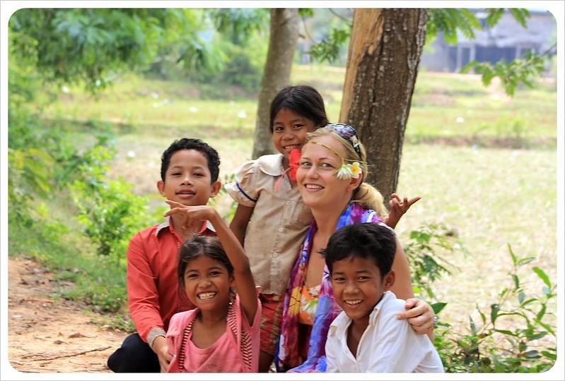dani with kids in cambodia