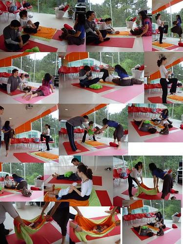 A Tupilde com os filhotes a fazer baby yoga