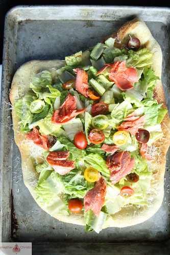 Salmon Cesar Salad Pizza