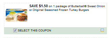 Butterball Sweet Onion Or Original Seasoned Frozen Turkey Burgers Coupon